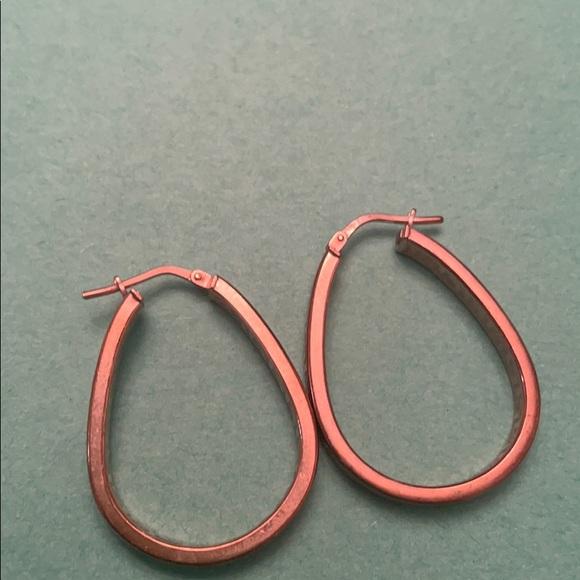 Vintage rose gold over sterling 925 hoop earrings